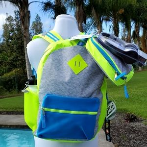 """L2D 16"""" Backpack with Lunch Bag & Headphones, Neon"""